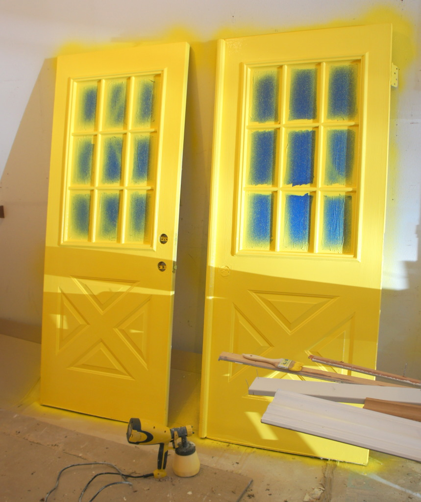 here is the final coat of yellow paint applied using my paint sprayer. Black Bedroom Furniture Sets. Home Design Ideas